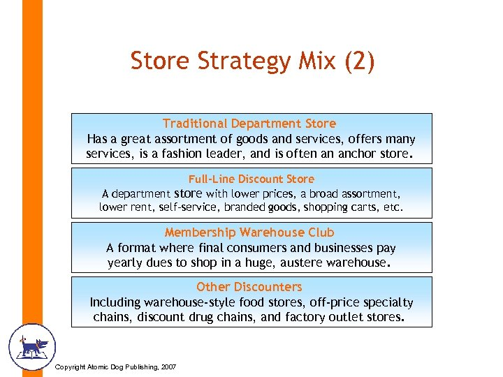 Store Strategy Mix (2) Traditional Department Store Has a great assortment of goods and