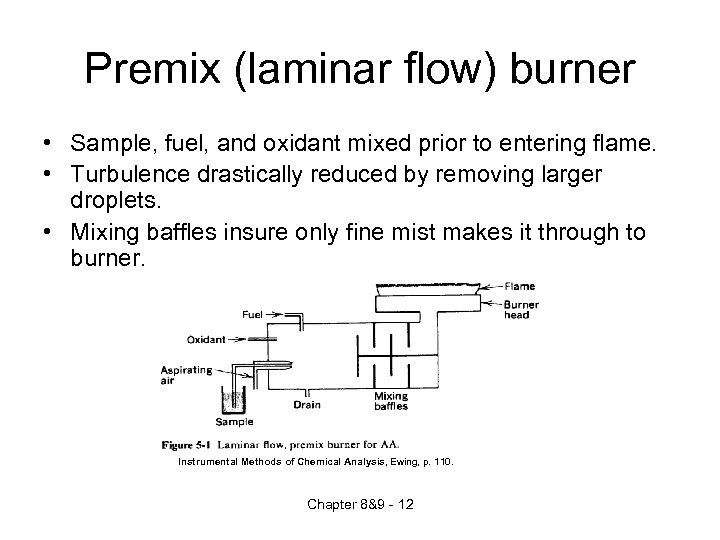 Premix (laminar flow) burner • Sample, fuel, and oxidant mixed prior to entering flame.