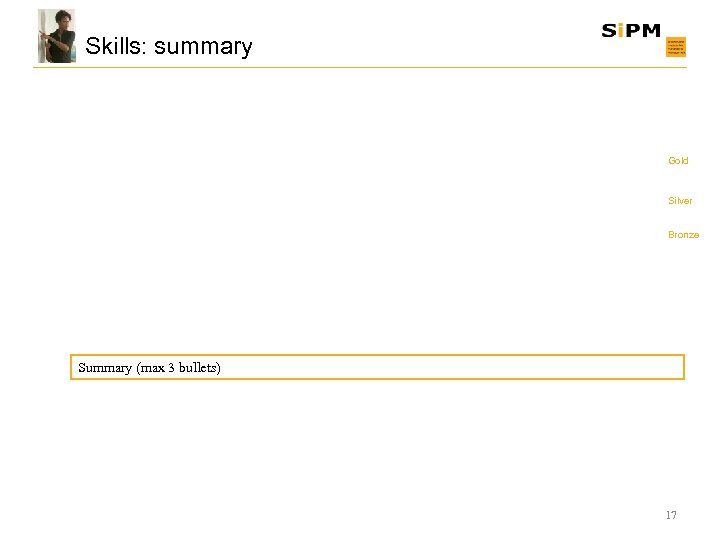 Skills: summary Gold Silver Bronze Summary (max 3 bullets) 17