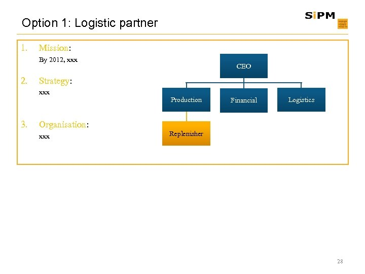 Option 1: Logistic partner 1. Mission: By 2012, xxx 2. Strategy: xxx 3. CEO
