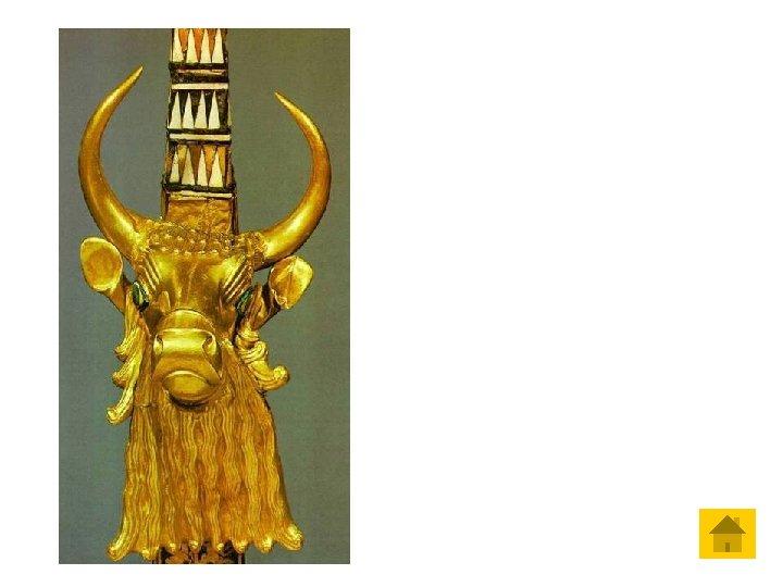 Cabeça de touro dourada, decorando a parte anterior de uma lira de Ur, 2.