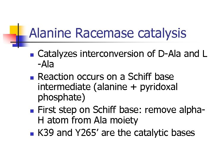 Alanine Racemase catalysis n n Catalyzes interconversion of D-Ala and L -Ala Reaction occurs