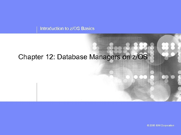 Introduction to z/OS Basics Chapter 12: Database Managers on z/OS © 2006 IBM Corporation