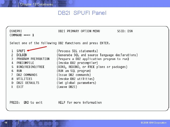 Chapter 12 Databases DB 2 I SPUFI Panel 16 © 2006 IBM Corporation