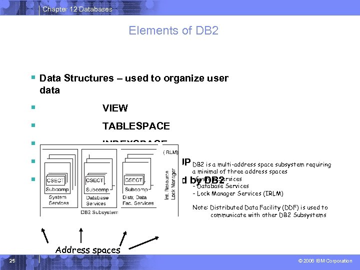 Chapter 12 Databases Elements of DB 2 § Data Structures – used to organize