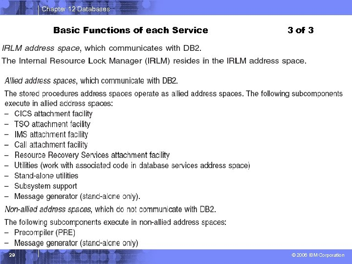 Chapter 12 Databases Basic Functions of each Service 29 3 of 3 © 2006