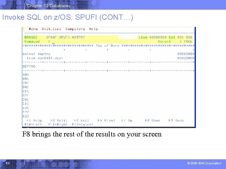 Chapter 12 Databases Invoke SQL on z/OS: SPUFI (CONT…) F 8 brings the rest