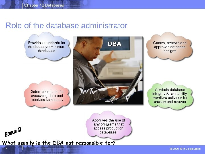 Chapter 12 Databases Role of the database administrator What usually is the DBA not