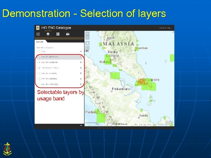 Demonstration - Selection of layers Selectable layers by usage band