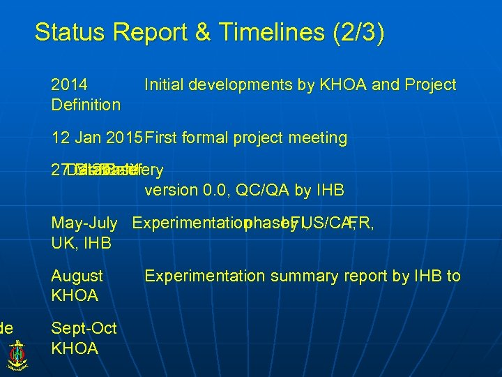 de Status Report & Timelines (2/3) 2014 Definition Initial developments by KHOA and Project