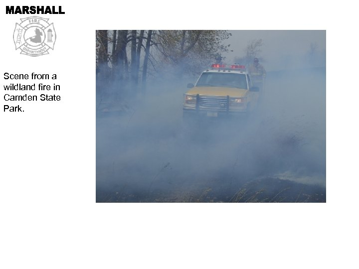 Scene from a wildland fire in Camden State Park.