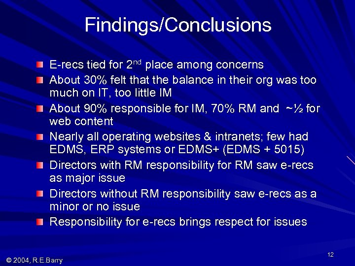 Findings/Conclusions E-recs tied for 2 nd place among concerns About 30% felt that the