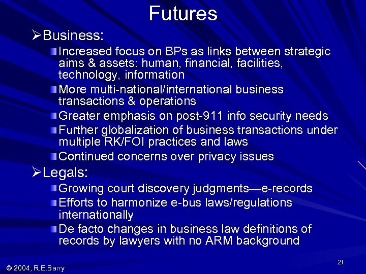 Futures ØBusiness: Increased focus on BPs as links between strategic aims & assets: human,