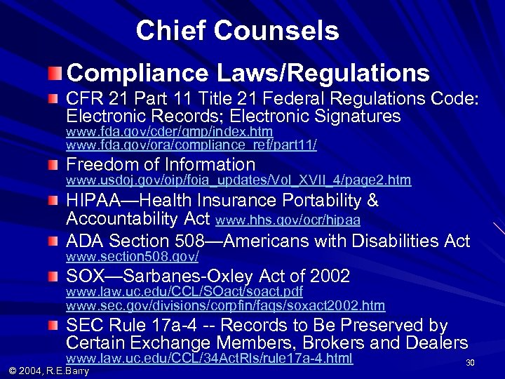 Chief Counsels Compliance Laws/Regulations CFR 21 Part 11 Title 21 Federal Regulations Code: Electronic