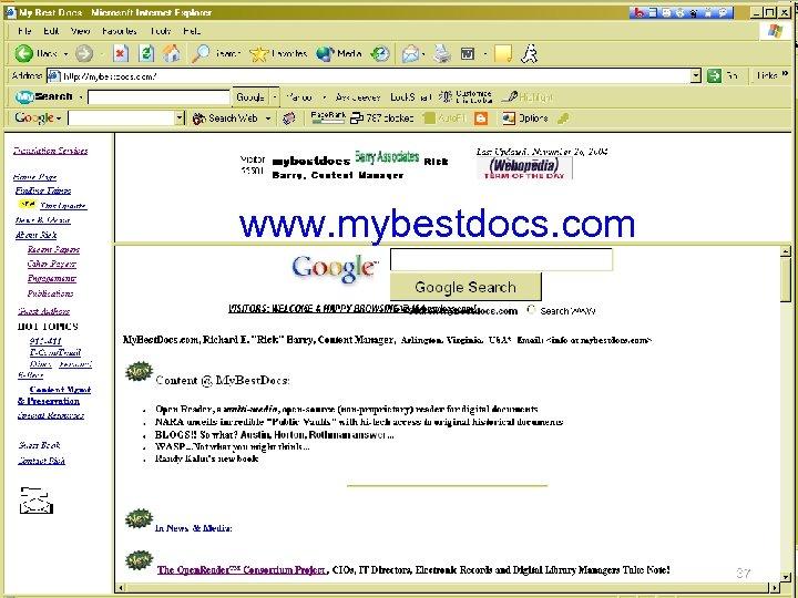 www. mybestdocs. com © 2004, R. E. Barry 37