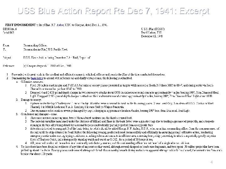 USS Blue Action Report Re Dec 7, 1941: Excerpt 4