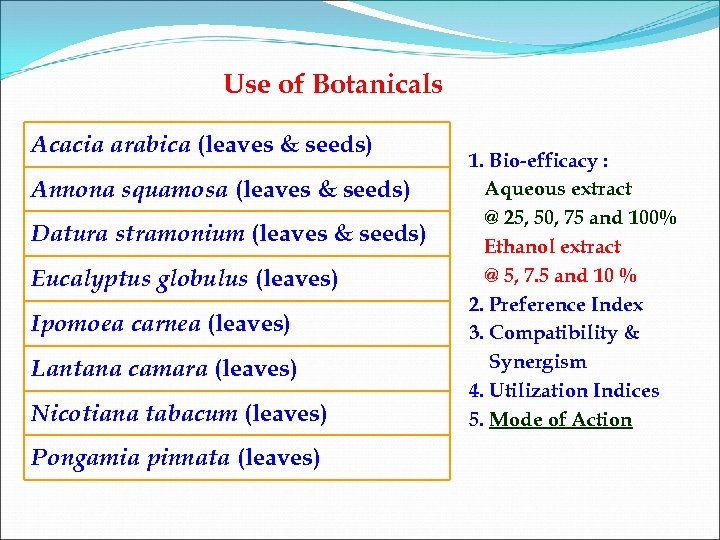 Use of Botanicals Acacia arabica (leaves & seeds) Annona squamosa (leaves & seeds) Datura