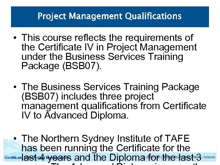 Certificate Iv In Project Management Course Structure Course