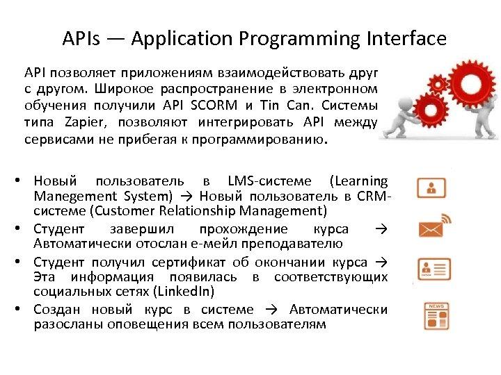 APIs — Application Programming Interface API позволяет приложениям взаимодействовать друг с другом. Широкое распространение