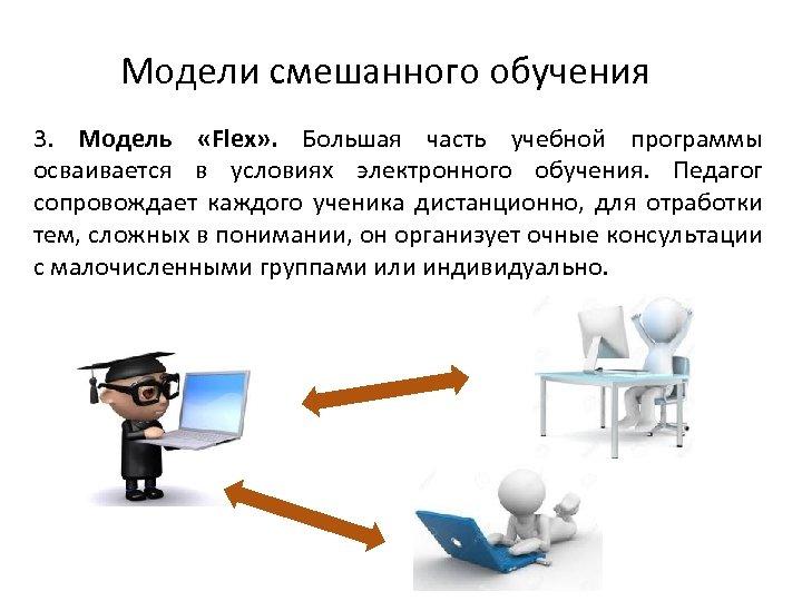 Модели смешанного обучения 3. Модель «Flex» . Большая часть учебной программы осваивается в условиях