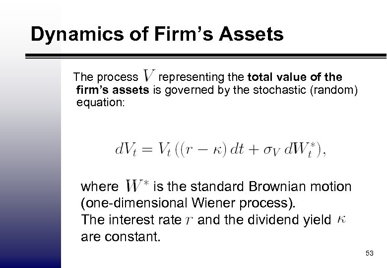 Dynamics of Firm's Assets The process representing the total value of the firm's assets