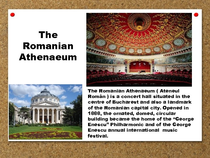 The Romanian Athenaeum ( Ateneul Român ) is a concert hall situated in the
