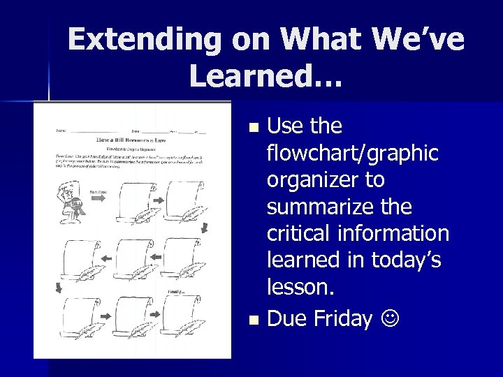 Extending on What We've Learned… Use the flowchart/graphic organizer to summarize the critical information