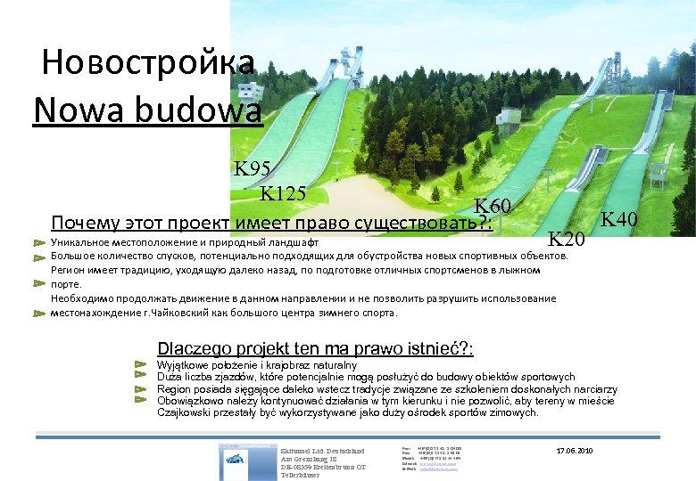 Новостройка Nowa budowa K 95 K 125 K 60 Почему этот проект имеет право