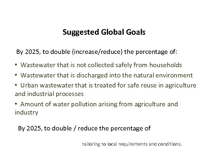 Suggested Global Goals By 2025, to double (increase/reduce) the percentage of: • Wastewater that