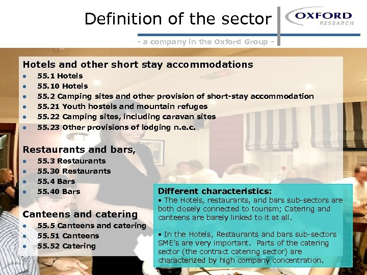 Definition of the sector - a company in the Oxford Group - Hotels and