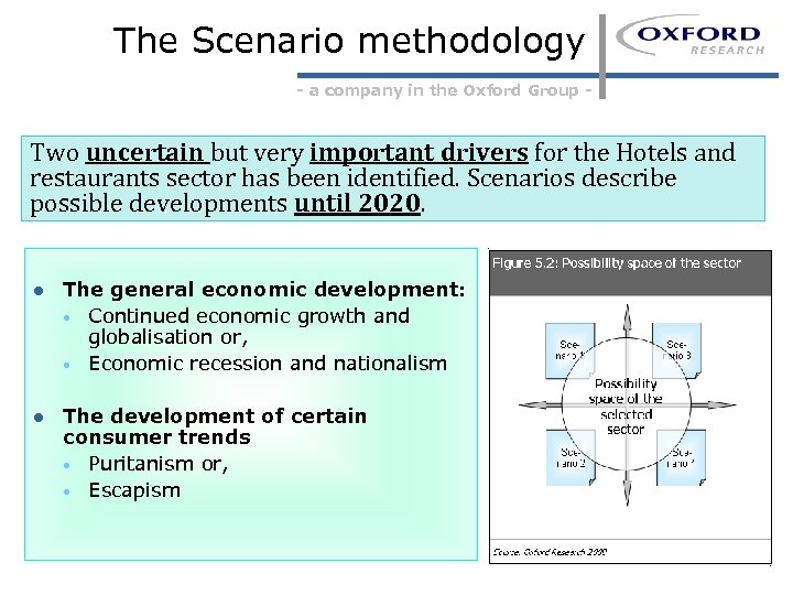 The Scenario methodology - a company in the Oxford Group - Two uncertain but