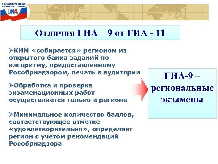 Отличия ГИА – 9 от ГИА - 11 ØКИМ «собирается» регионом из открытого банка