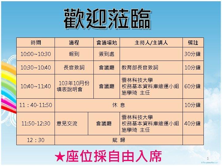 歡迎蒞臨 時間 議程 會議場地 10: 00~10: 30 報到 簽到處 10: 30~10: 40 長官致詞 會議廳