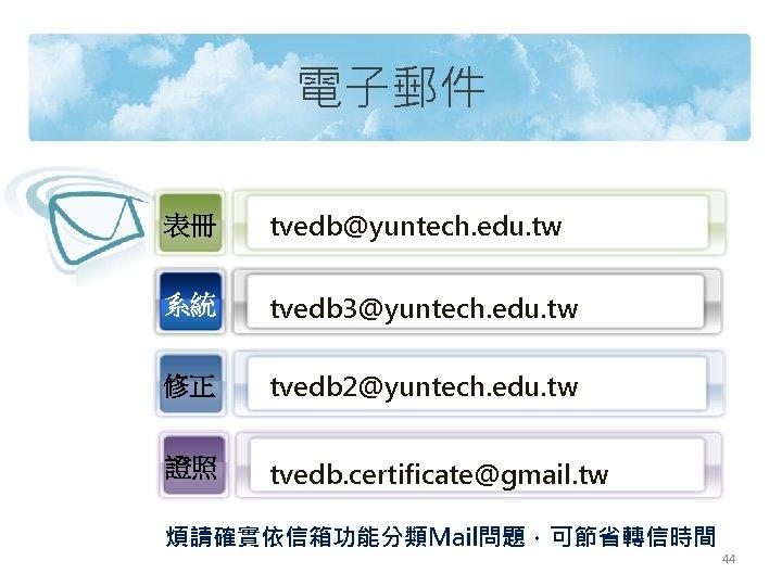 電子郵件 表冊 tvedb@yuntech. edu. tw 系統 tvedb 3@yuntech. edu. tw 修正 tvedb 2@yuntech. edu.