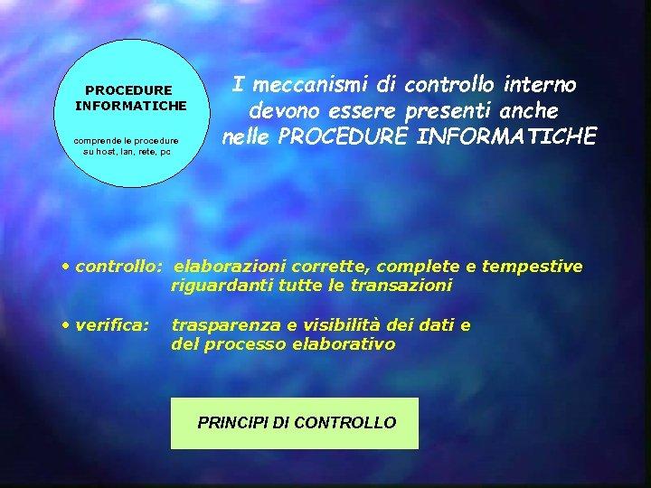 PROCEDURE INFORMATICHE comprende le procedure su host, lan, rete, pc I meccanismi di controllo