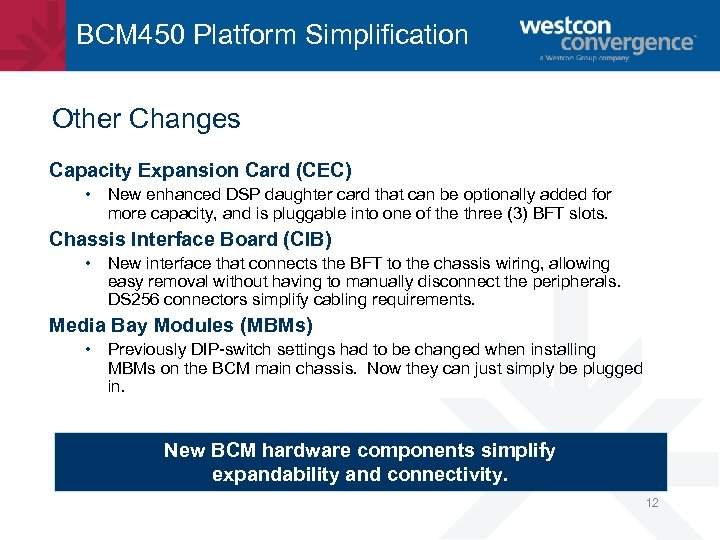 BCM 450 Platform Simplification Other Changes Capacity Expansion Card (CEC) • New enhanced DSP