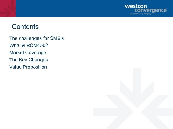 Contents The challenges for SMB's What is BCM 450? Market Coverage The Key Changes