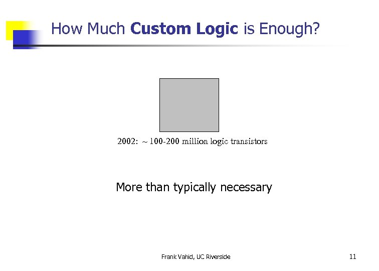 How Much Custom Logic is Enough? 2002: ~ 100 -200 million logic transistors More