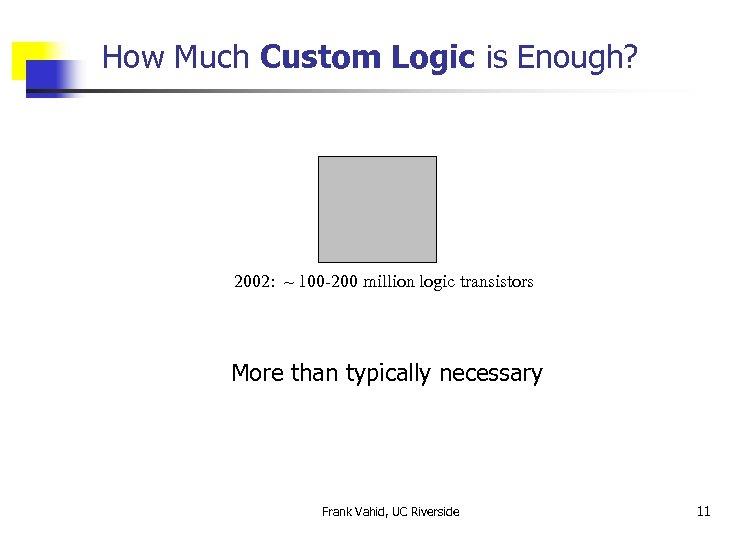 How Much Custom Logic is Enough? 2002: ~ 100 -200 million logic transistors More
