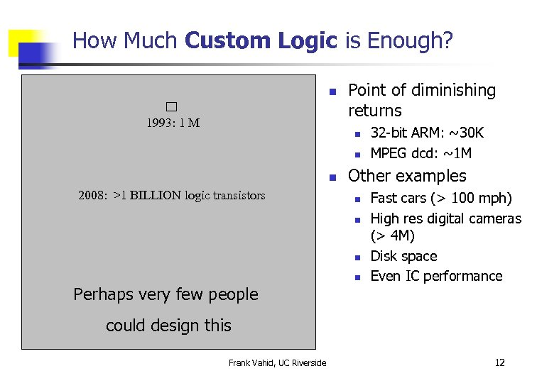 How Much Custom Logic is Enough? n 1993: 1 M Point of diminishing returns