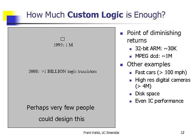 How Much Custom Logic is Enough? n 1993: 1 M Point of diminishing returns