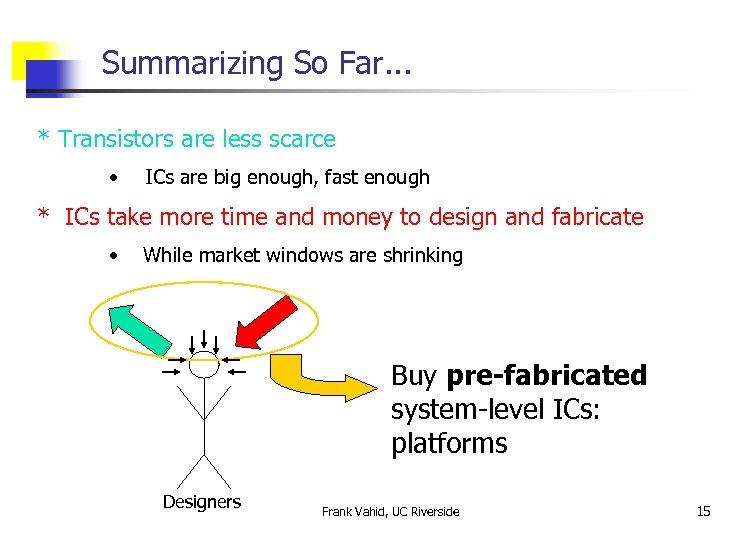 Summarizing So Far. . . * Transistors are less scarce • ICs are big
