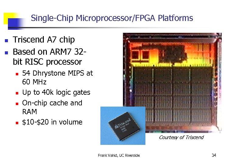Single-Chip Microprocessor/FPGA Platforms n n Triscend A 7 chip Based on ARM 7 32