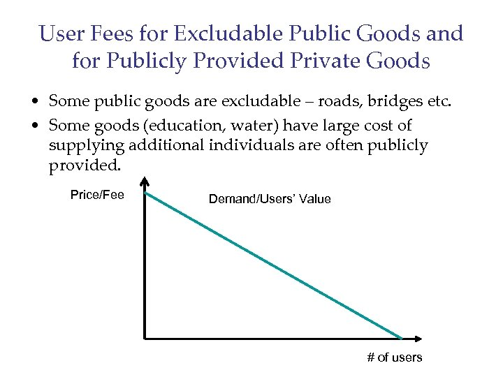 User Fees for Excludable Public Goods and for Publicly Provided Private Goods • Some