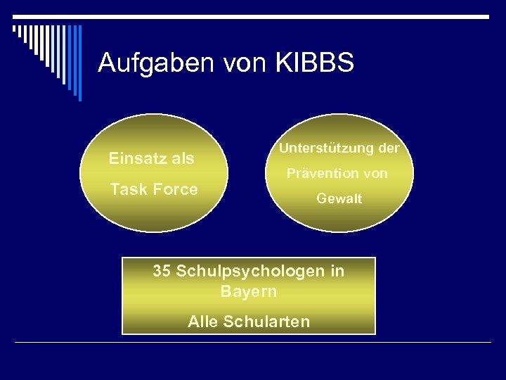 Aufgaben von KIBBS Einsatz als Task Force Unterstützung der Prävention von Gewalt 35 Schulpsychologen