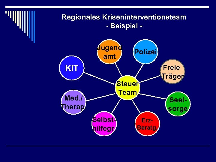 Regionales Kriseninterventionsteam - Beispiel Jugend amt Polizei KIT Steuer Team Med. / Therap. Selbsthilfegr.