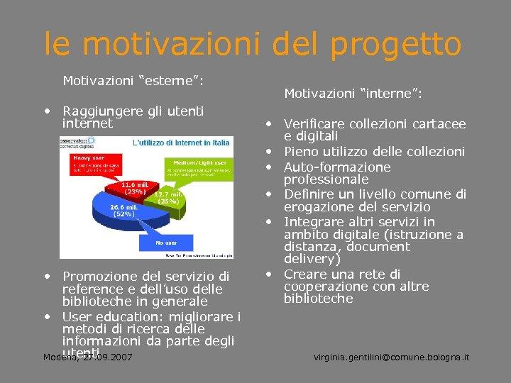 """le motivazioni del progetto Motivazioni """"esterne"""": • Raggiungere gli utenti internet • Promozione del"""