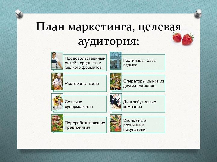 План маркетинга, целевая аудитория: Продовольственный ритейл среднего и мелкого форматов Гостиницы, базы отдыха Рестораны,