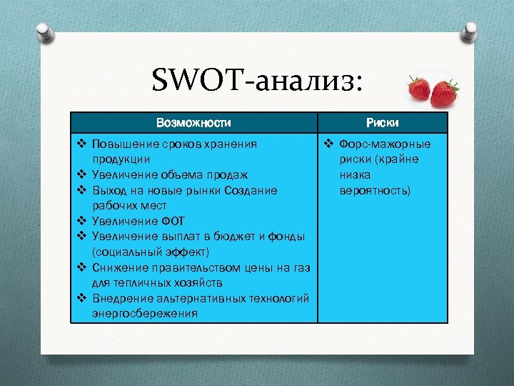 SWOT-анализ: Возможности Риски v Повышение сроков хранения v Форс-мажорные продукции риски (крайне v Увеличение
