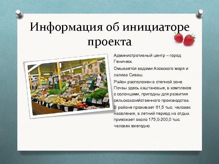 Информация об инициаторе проекта Административный центр – город Геническ. Омывается водами Азовского моря и